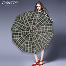 British Style Oversized Lattice Umbrella Rain Women Men 3Folding Wind Resistant Golf Umbrella Outdoor Brand Manual Big Parasol