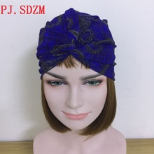 Turban Head Wraps Hijab Head Scarf Women Chic Blue Headband Trendy Female Hair Accessory Muslim Nigeria NewThin Headhoop HB0080(China)
