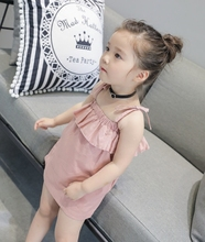 Small Children's Garment Summer New Pattern Children New Korean Lotus Leaf Edge One Word Lead Camisole Dress(China)