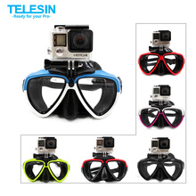 TELESIN Silicone Diving Glasses with Detachable Mount Diving Mask Scuba Snorkel Swimming Goggles for GoPro Hero 5 4 3 2 1