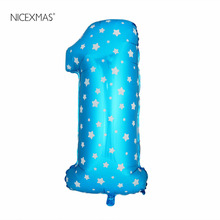 NICEXMAS 40 Inch Blue Number Foil Balloons Birthday Party Digit Ballons Wedding Decor Baloons Christmas Holiday Supplies(China)