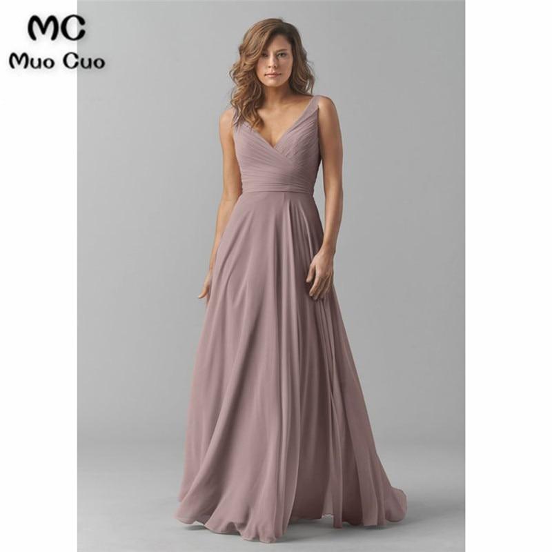 Sleeveless A Line V Neck Chiffon Long Bridesmaid Dress33