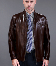 Stand collar brown man pu leather jacket men casual leather jackets male clothing brand mens faux leather jackets and coats 3XL(China)