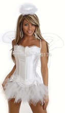 walson instyles free pp women Sexy corselet dress Lace Tutu Dance wear Crop skirt with Tops White 4 PC Sexy Angel Costume