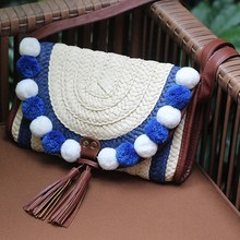 Small Boho Crossbody Bags Woven Straw Bohemian Beach Bag Summer Handmade Knitting Shoulder Bags Handbags Women Famous Brands