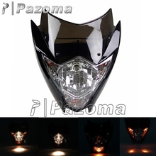 PAZOMA Black 12V Dirt Dike Motorcycle Head Light Supermoto Vision Headlights for Yamaha WRF XT TTR Suzuki DR RM Honda CR CRF XR