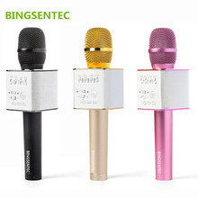 BINGSENTEC Brand Q9 Magic Bluetooth Karaoke Microphone Wireless Professional Player speaker With Carring Case For Iphone Android(China)
