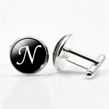 QCOOLJLY N-Z Initial Alphabet Silver Color Letter Men Cufflinks High Quality Cuff Buttons Wedding Male Business Shirts Cufflink(China)