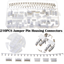 210PCS Wire Connectors Nylon Jumper Pin Housing Header Crimp Kit Male Female XHPX 5J  Terminal White Color With Box