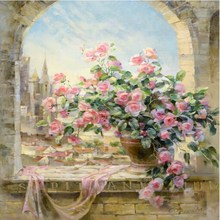 Hot Selling Frame Pictures Painting By Numbers DIY Digital Oil Painting On Canvas Home Decoration Window Flowers Scene 40x50CM