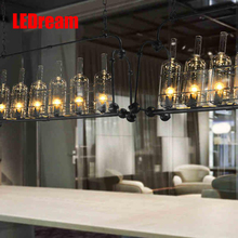 Industrial air bottle glass chandelier creative personality cafe restaurant bar counter clothing store lighting lamps