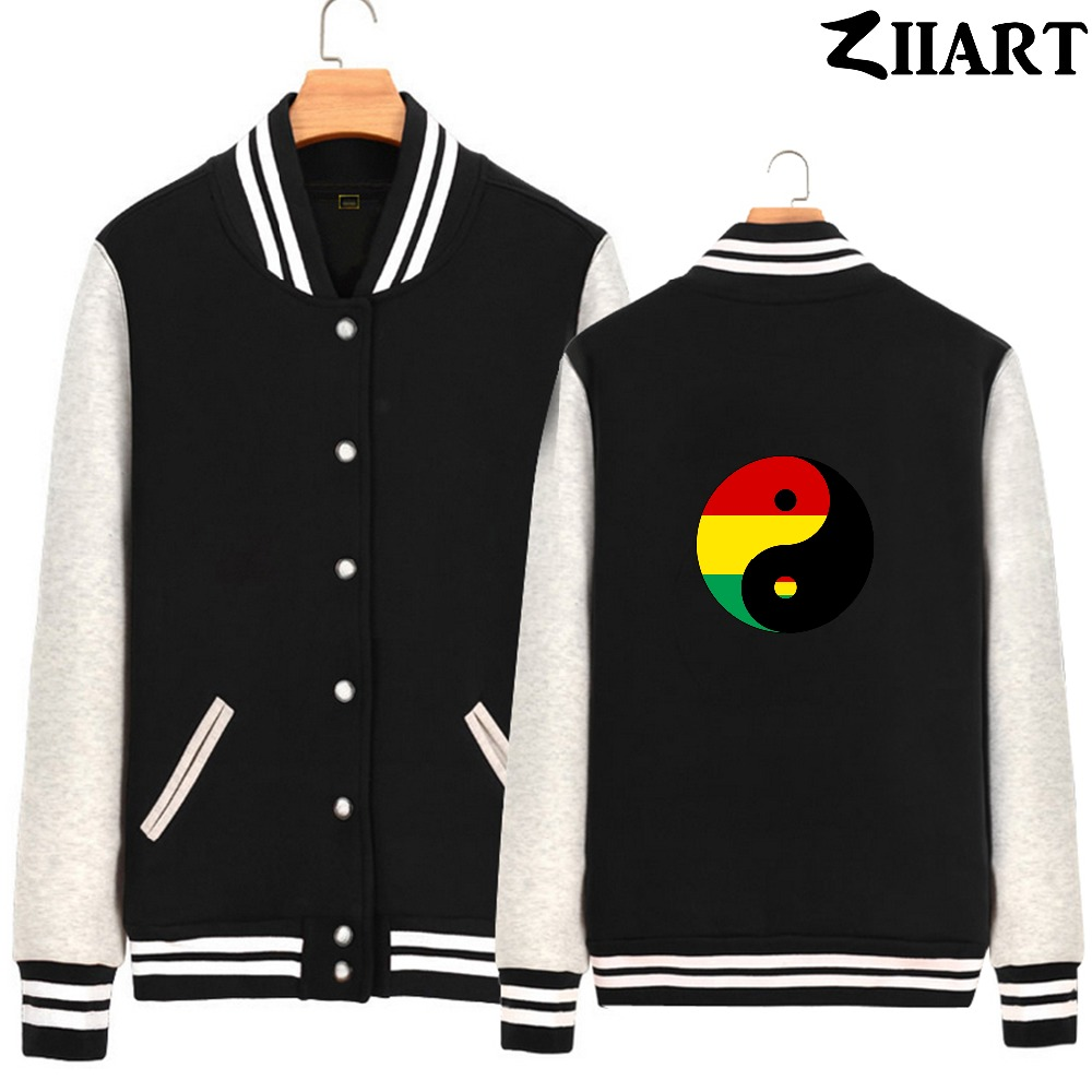 Yin yang bagua Chinese philosophy reggae Regge Rasta red yellow green Man Full Zip Autumn Winter Fleece Baseball jackets ZIIART