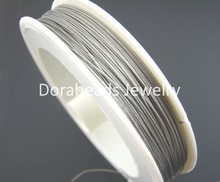 Doreen Box Lovely 1Roll Antique Silver Tiger Tail Beading Wire 0.45mm 56M (B01398)