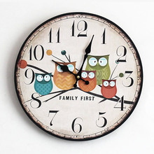"New Lovely Cartoon Five Owl 12 Inch Round Wood Wall Clock ""FAMILY FIRST""Rimless Electric Clocks Home Decorations Christmas Gift"