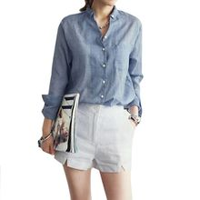 Hot Sale Fashion Women Casual Cotton Blouse Button Down Shirt Ladies Solid V-neckLong Sleeve OL Office Shirt(China)