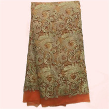 Excellent orange with god embroidery African tulle mesh lace fabric with stones French net lace for party dress JNZ3-2