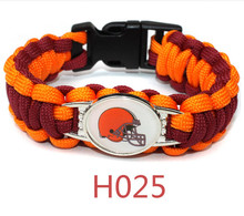 10pcs/lot Paracord survivor bracelet Cleveland Browns team logo bracelet jewelry for sports fans friendship bracelets(China)