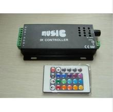 Hot selling 12-24V Wireless RGB controller for led strip Music RGB LED Audio IR Remote Controller(China)