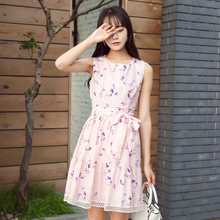 New Summer Women dress Print Sleeveless Chiffon Small Clear Is Placed Dresses Pink 6563