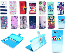 Owls Tower Tiger Flowers Fashion Flip Wallet Stand Cover Case For Sony Xperia Z1 Compact /mini D5503 M51w PU Leather Case