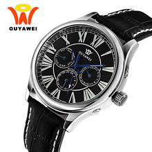 OUYAWEI Business Mechanical Black Leather Watch Men Stainless Steel Silver Case 40MM Automatic Self widing Auto Date Watches(China)