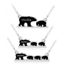 1 2 3 Cubs mama bear necklaces gold silver plated necklace 3 babies letter enamel bear mom and baby jewelry for child birthday(China)