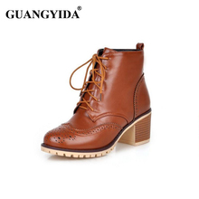 2016 Women Fashion Boots Women Bullock Carved Boots Lace-up Med Heels  Ankle boots Botas Feminina Botines Mujer 244