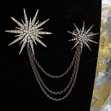 Hesiod Fashion Women Brooch Crystal Charm Star Sparking Chain Brooches Lady Dress Decoration Wholesale