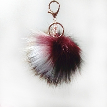10cm Brown White Dark Red Series Fake Raccoon Fur Pompon Key Chain Bag Pendant Colorful Long Hair Fulffy Pom Jewelry Gifts