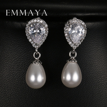 Emmaya Romantic Water Drop Shape Zircon Earring with Top Quality Simulated Pearl Earrings For Women(China)