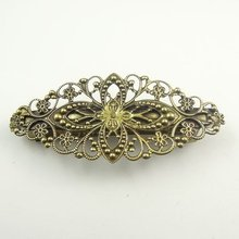 Antiqued Style Bronze Tone Hair Clip Charms Finding 5pcs 30392 80*35*14mm(China)