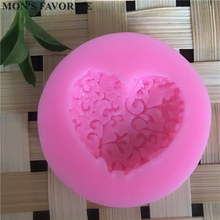 DIY Cake Decorating Loving Heart Lace Shaped Fondant Sugar Art Tools DIY Cake  Decorating Tools 3D Silicone Molded D074