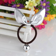 C New Arrival Girls Shiny Rabbit Ear Headband Colorful Bead Ponytail Holder Kids Scrunchy Accessories Children Elastic Hair Band(China)