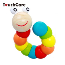 Colorful Insects Puzzles Kids Educational Wooden Toys Baby Children Fingers Flexible Training Science Twisting Worm Toys(China)