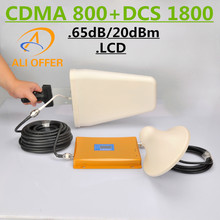 GSM 850 1800 Dual Band Cellphone Signal Booster Repeater,LCD CDMA 800 DCS 1800 Mobile Amplifier+LPDS+Ceiling Antenna+5D-FB Cable