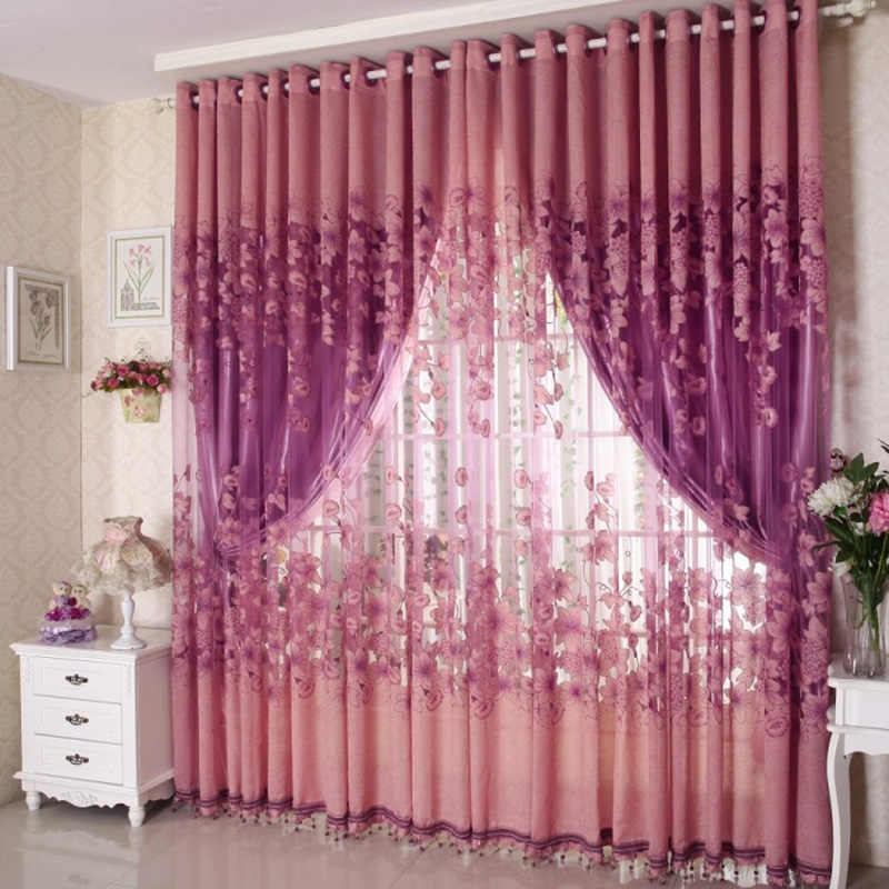 250cm x 100cm Vogue Floral Tulle Curtains for Room Door Window Drape Panel Sheer Scarf Valances Curtain