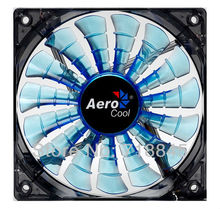Wholesale Aerocool 12V 4Pin &3Pin 120mm x 25mm 12025 Cool Fashion 15 Shark fin leaves Mute Blue Color PC Case System Cooling Fan