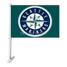 2PC SEATTLE MARINERS Baseball Car Flag