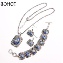 SOHOT Unique Design Antique Silver Color Jewelry Sets Women Blue Vein Sodalite Stone Pendant Necklace Bracelet and Earring Gift
