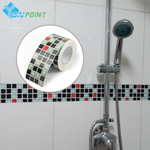5M Waist Line Wall Sticker Kitchen Bathroom Toilet Wall Borders Waterproof Self adhesive Wallpaper Border Mosaic Tiles Stickers