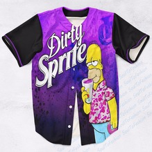 Real AMERICAN USA Size Custom made Fashion 3D Sublimation Print Dirty Sprite Baseball Jersey Plus Size