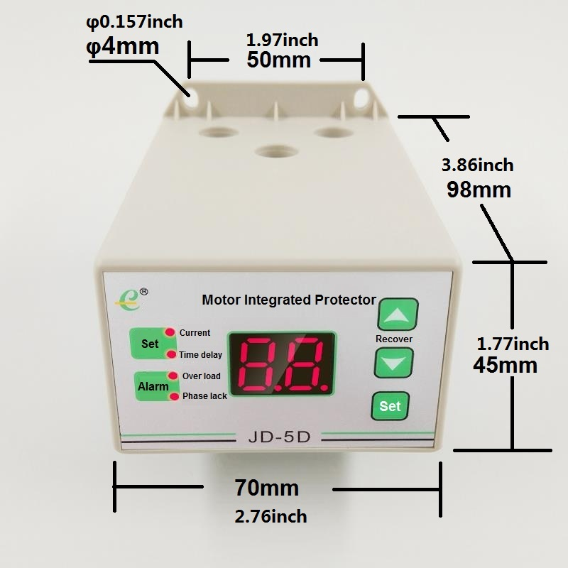 HoneyFly NEW JD-5D Motor Protection Relay 220V Digital Thermal Relay JD-5 Motor Integrated Protector OverLoad Protection Relay <br>