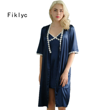 Fiklyc brand mini length sexy women's robe set 2017 summer half-sleeve female nightwear bathrobe + gown two pieces lingerie set(China)