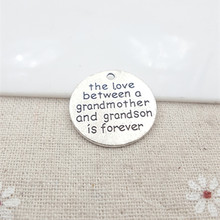 25mm the love between a grandmother and grandson is forever massage pendant charm For Fashion Jewelry High Quality Charms DIY