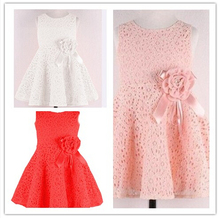Big Promotion Best Selling 2015 New Arrival Girl Princess Dress O neck Sleeveless Flower Detail Hollow out Design Girl Dress