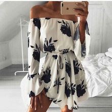 Aliexpress Ebay Europe Trade Explosion Source Word Shoulder Sexy Backless Dress Vestidos Print dress Beach Dress 2017