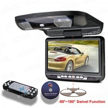 "XTRONS Black 9"" Digital Screen Flip down slim Car Roof Mounted DVD Player Overhead USB Game Headset Built-in IR&FM Transmitter(China)"