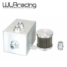 WLRING STORE- 1L Aluminum oil catch can tank with breather & drain tap 1LT baffled Natural Finish WLR9491(China)