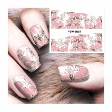 ZKO 1 Sheet  Chic Pink Flower Designs Nail Sticker Water Decals Nail Art Water Transfer Stickers For Nails 8087