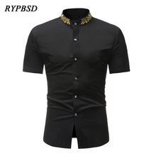RYPBSD Summer Vintage Collar Embroidery Gold Tree Leaf Short Sleeve Casual  Slim Fit. US  19.75   piece Free Shipping 7950849444f9